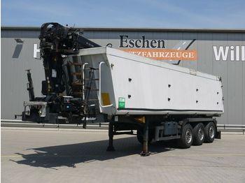 Kipper Auflieger Schmitz Cargobull SKI 24, 39m³ Alumulde, Hiab 122 E-3 Pro Kran