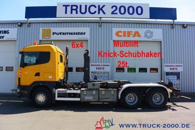 Abrollkipper Scania 124G470 6x4 Multilift Knick- Schub Haken 25 to.