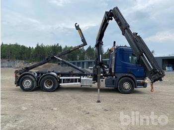 Abrollkipper  Scania P400LB Lastväxlare med Kran och Flak