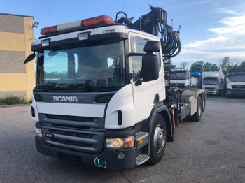 Abrollkipper Scania P420 6x2 Abroller mit Kran, Halbautomatic ,Retarder,Euro3,Liftachse