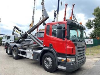 Abrollkipper Scania P420 6x2 CONTAINER HAAKSYSTEEM AJK / AMPLIROL / ABROLLKIPPER - *453.000km* - LIFT-AS - 10 BANDEN - BELG