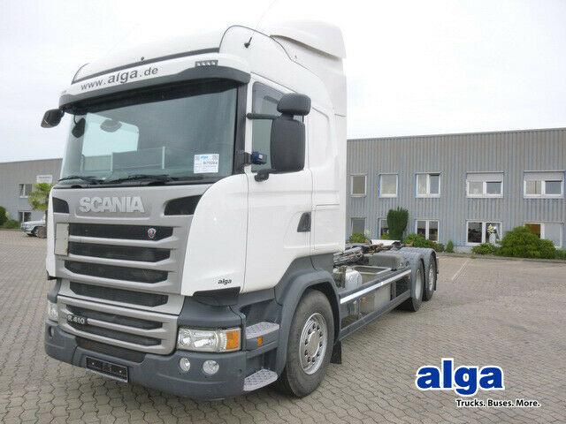 Abrollkipper Scania R410LB, Retarder, Hiab XR 20S61, Highline, Klima