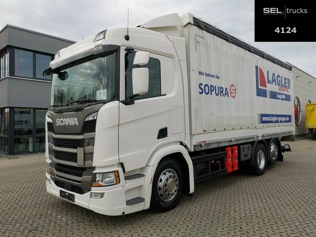 Plane LKW Scania R 410 / Retarder / Lenk-Liftachse / Ladebordwand