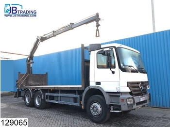 Pritsche LKW Mercedes-Benz Actros 2632 6x4, EPS 16, 3 pedals, Hiab crane, Remote, Steel suspension, Pallet hook, Rotator, Airco