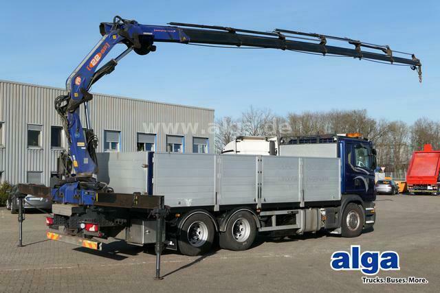 Pritsche LKW Scania G440 6x4, Kran PM 22026SP, Funk, zusammenlegbar