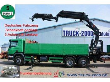 Pritsche LKW Scania P 380 Hiab 377-E6+JIB 70X-4 Höhe 28.5m TüV 02/22