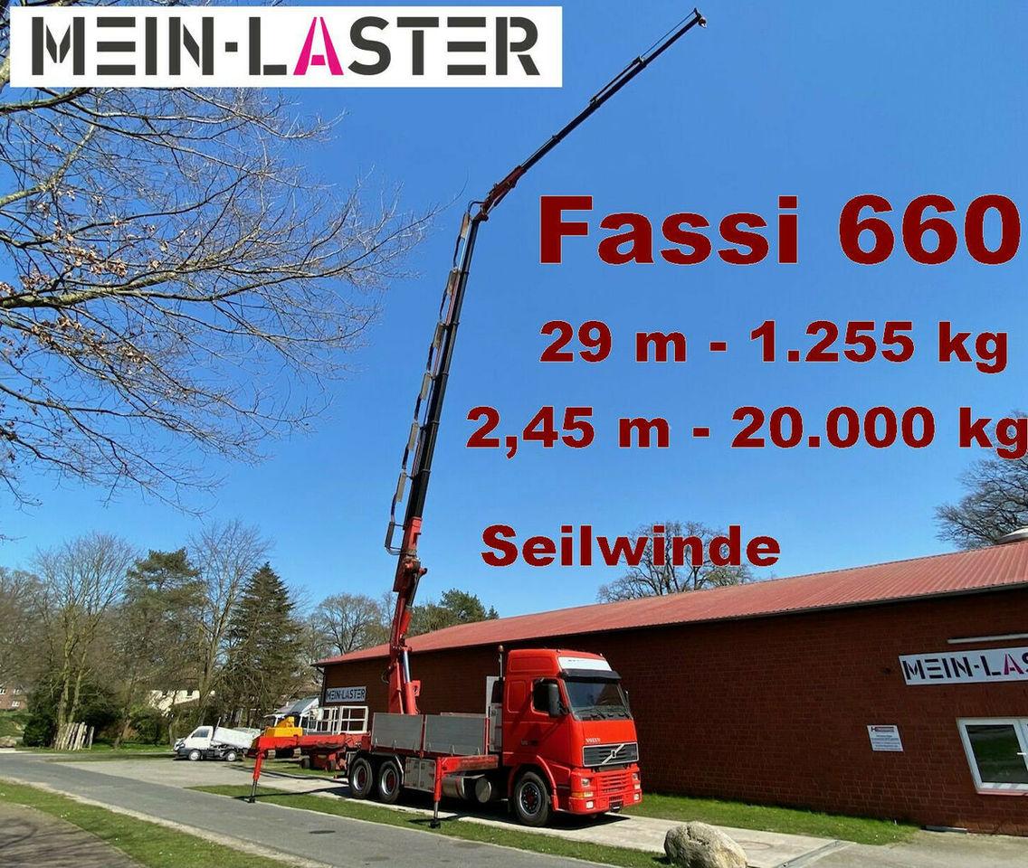 Pritsche LKW Volvo FH16 Fassi 660 JIB 29 m 1.250 kg Seilwinde Funk