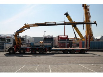 Sattelzugmaschine Scania 124 G 470 8X4 WITH EFFER 860 6S CRANE COMBI WITH HRD SEMI LOW LOADER TRAILER